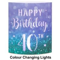 'Happy Birthday 40th' Light Up Colour Changing Lantern...
